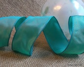 "Wired Ribbon 1 1/2"", Turquoise Blue Green - THREE YARD ROLL - Offray ""Charisma"" Ocean, Wedding Ribbon, Wire Edged Ribbon"