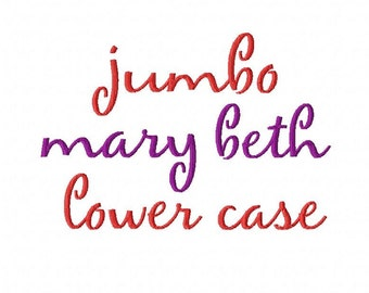 """Jumbo LOWER CASE Mary Beth - Machine Embroidery Font - Sizes 5"""",6"""",7"""" and 5x7 Hoop - Buy 2 get 1 FREE"""