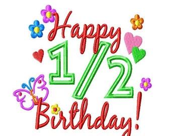 Happy .5 Birthday - GIRL - Machine Embroidery Design - 7 Sizes