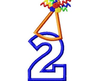 "Birthday Hat Applique Numbers - Machine Embroidery Design - 4x4 Hoop, 5"",6"",5x7 Hoop and 6x10 Hoop"