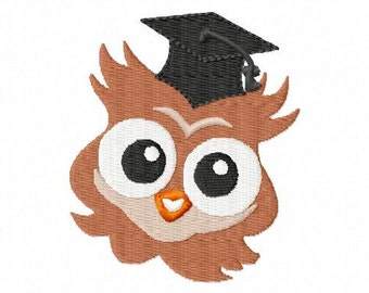 Owl with Graduation Hat - Machine Embroidery - 6 Sizes