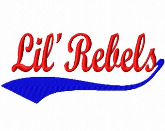 Baseball Swoosh - Lil' Rebels - Machine Embroidery Design - 13 Sizes - 2 types