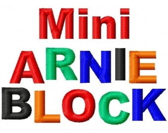 Mini Arnie Block - .5in. (half inch) - Machine Embroidery Font - BUY 2 get 1 FREE - Mini Fonts