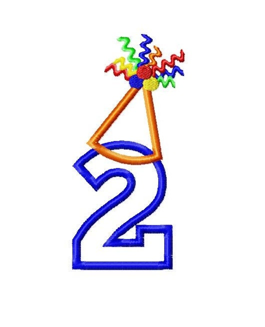 Birthday hat applique numbers machine embroidery design