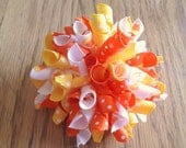 Halloween Hair Bow - Candy Corn Halloween Korker with Polka Dot Orange, Yellow, and Candy Corn Ribbon