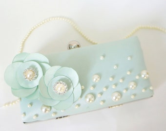 Romantic Seafoam Green Clutch Purse with Pearls and Flower Adornments