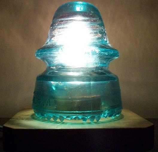 vintage insulator light railroad utility glass insulator. Black Bedroom Furniture Sets. Home Design Ideas