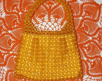 Vintage Mellow Yellow Mod funky Plastic Beaded Purse