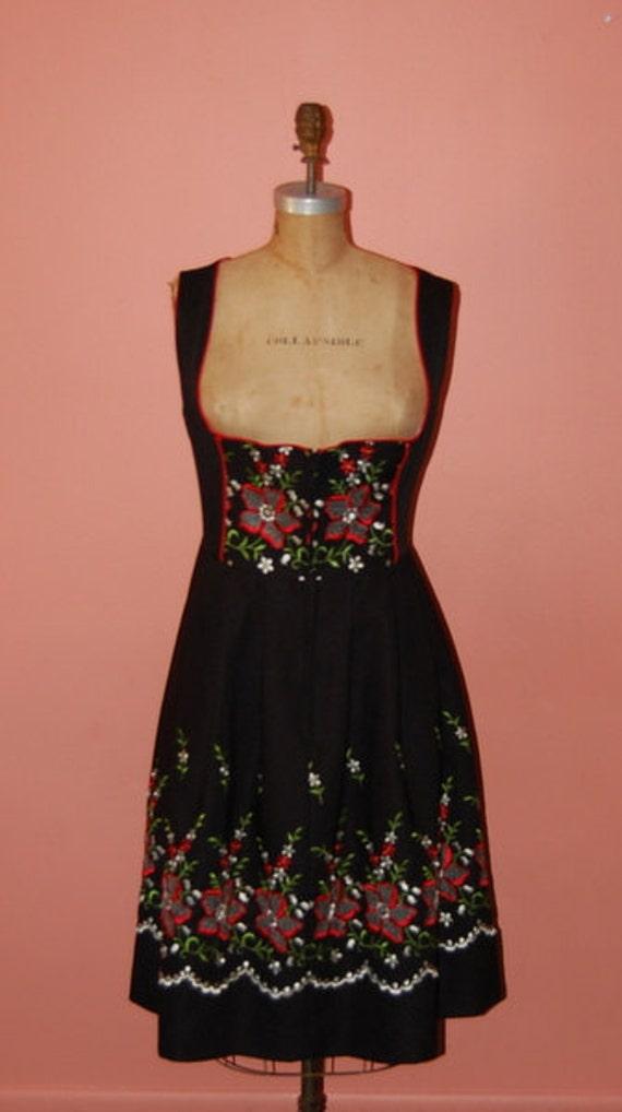 Vintage Dirndl Folk Peasant Embroidered Black Dress Best Ever
