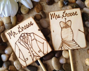 Personalized Wedding Cake Toppers Custom Made with YOUR Wedding Gown and HIS Tuxedo