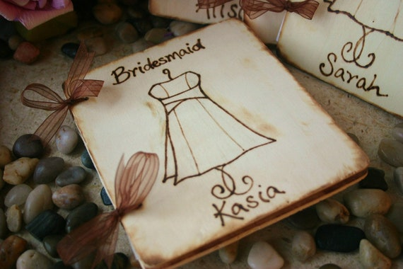 Set of 5 Personalized Bridesmaid Gifts Scrapbook Memory Journal with THEIR Dress Engraved