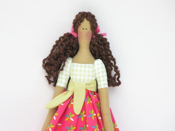 Lovely fabric doll in bright pink dress,brown hair Tilda style cloth doll,art doll-cute stuffed doll, rag doll - gift for girls