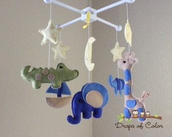 Baby Mobile - Baby Crib Mobile - Elephant, Giraffe, Boat Mobile - Nursery Decor Animals - Kids (You Can Pick your Colors and Animals)