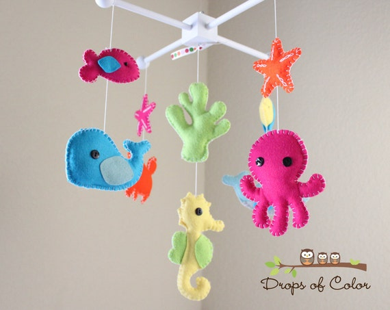 Baby crib mobile baby mobile nursery crib by dropsofcolorshop for Sea animal baby mobile