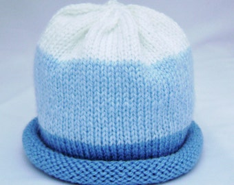 Blue and White Knitted Baby Hat size 6 to 12 months ready to ship