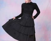 Vintage 1950's 3 Tier Taffeta Long Sleeve Collared Winter Pleated Dress w/ Belt