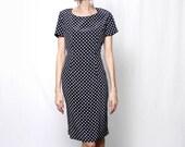 Vintage 90s Black White Polka Dot Knee Length Dress
