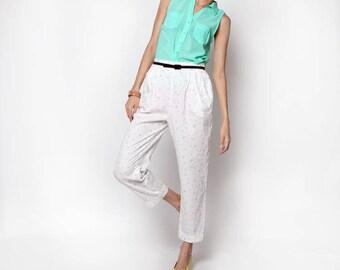 Vintage High Waist Pastel Polka Dot White Pants
