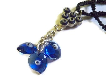Evil Eye Protection Necklace - Handcrafted with Love - Blue, Black and White - Wearable Art