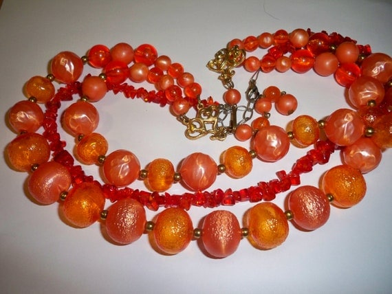 2 Orange Vintage Necklaces