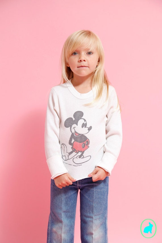Vintage Mickey Mouse Shirt - Long Sleeve Thermal - Kids size Small - Walt Disney Productions