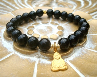 black tourmaline buddha mala bracelet - grounding & absorbing