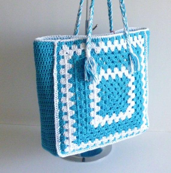 Crochet shoulder bag - turquoise blue aqua white -  eco friendly bamboo cotton
