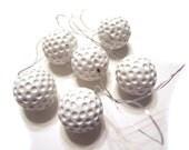 White Ceramic Christmas Golf Ball Ornaments - 6 pcs