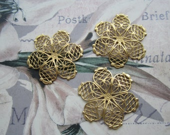 Brass Filigree Flower Stampings 6 Petal 3-D 3Pcs.