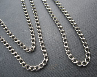 Vintage Stainless Steel Curb Chain 5 Feet