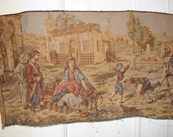 Antique Belgium Tapestry / wall Hanging / Market Scene / 3 Panel Scene