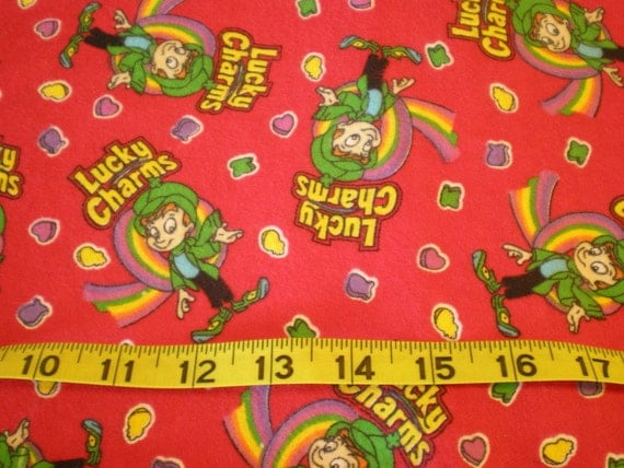 1 yard flannel Lucky Charms kids cereal print red cute fabric