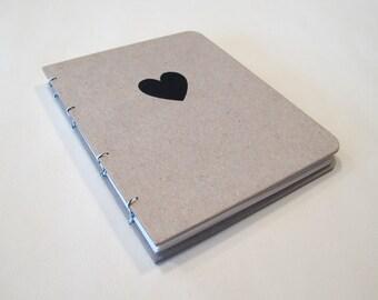 Valentine's Heart Handmade Journal Notebook: Hardbound Coptic Small Book