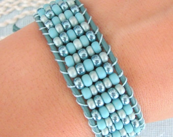 Beaded Leather Cuff  Bracelet with Teal Leather and Button Clasp