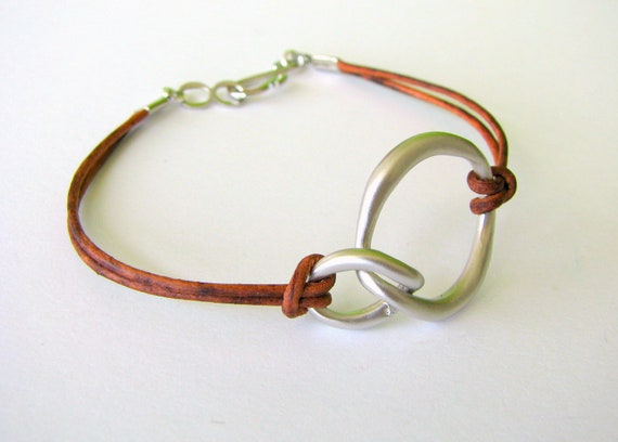 Brown Leather Bracelet with Silver Connector