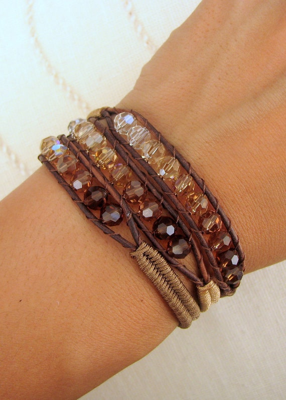 Ombre Beaded Macrame Bracelet With Brown Leather Swarovski