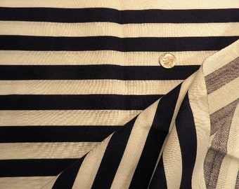 Vintage Navy Blue and White Striped Light Weight Cotton Fabric, Vintage Material, Vintage Textiles