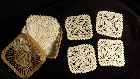White Cotton Crocheted Coasters Vintage