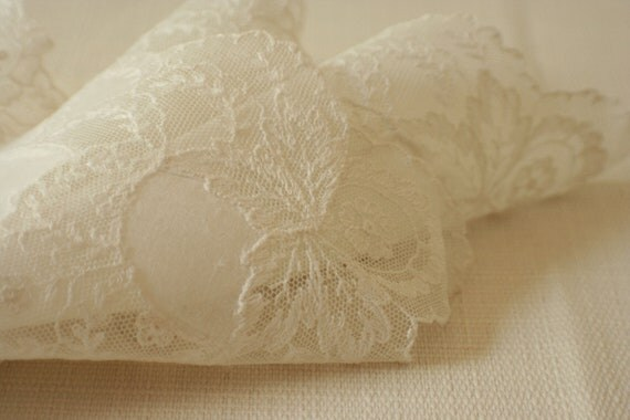 wedding hanky delicate lace and white linen