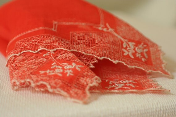 tomato red linen hanky with madeira embroidery and punchwork