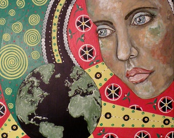 """Folk Art Woman World Print of Original Painting """"The World in Your Eyes""""  by Lore"""