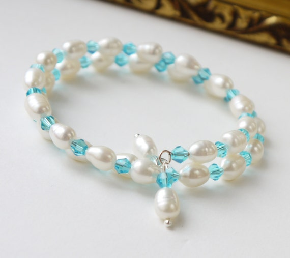 aqua crystal pearl bracelet ivory freshwater rice pearl bangle bracelet cuff coil for wedding bride