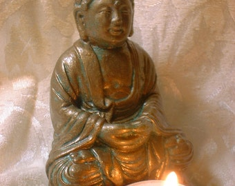 Meditative Buddha Statue with Tea Candle in Bronze Finish