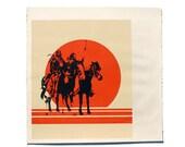 Vintage Silkscreen Print of Native American Horsemen