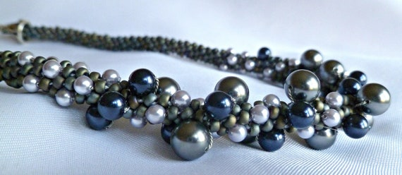RESERVED Kumihimo beaded necklace, blue silver pearl cluster