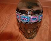 Pink, Blue, and Gold Tie Hippie Headband