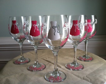 6 Personalized Bride and Bridesmaid Wine Glasses