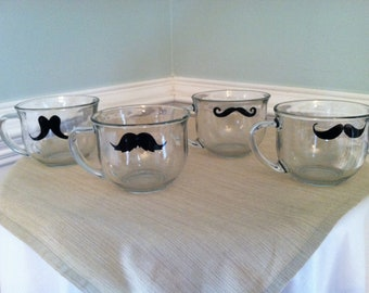 Clear Glass Mustache Coffee Mug Set of Six (6) (You pick the mustaches)