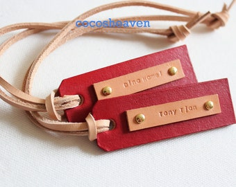 Custom Leather Luggage Tag - (Set of 2)  - Tan & Red - Perfect Gift for Birthday, Wedding or Anniversary