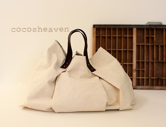 CANVAS WEEKENDER BAG...Natural (with dark brown leather strap)....one size